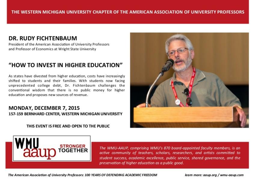 Flier for Rudy Fichtenbaum lecture on December 7, 2015