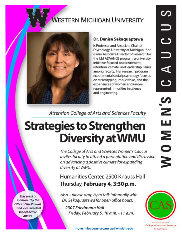 Flier announcing Denise Sekaquaptwa lecture Feb 4