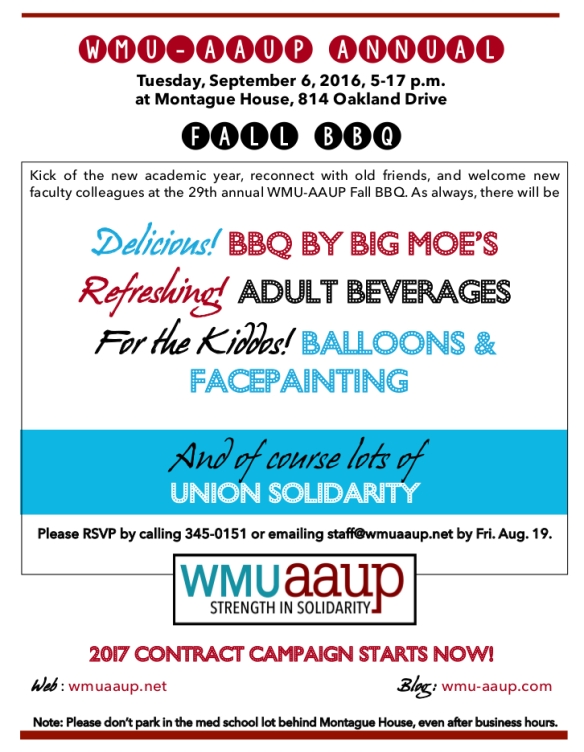 Flier for 2016 WMU-AAUP Fall BBQ