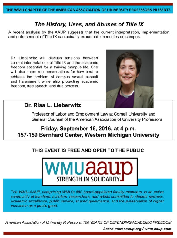 Flier for speaker event featuring Dr. Risa Lieberwitz, including photo of Dr. Liebervitz and information about the date, time, and location of her presentation.