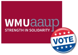 "WMU-AAUP logo with ""vote"" button"