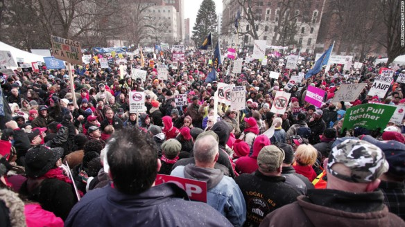 Photo of protestors outside Michigan state Capitol, December 11, 2012.